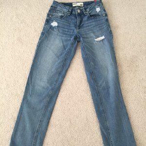 Medium Wash Garage Distressed Girlfriend Jeans